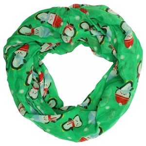 New Green with Snow & Penguin Infinity Loop Scarf